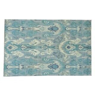 Ikat Uzbek Hand-knotted Pure Wool Tribal and Geometric Rug (6' x 9'3)