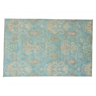 Pure Wool Sky Blue Ikat Uzbek Handmade Oriental Rug (6'1 x 9'3)