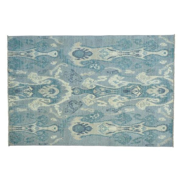 Ikat Uzbek Handmade Silver Pure Wool Oriental Rug (6'2 x 9'2) - 6'2 x 9'2