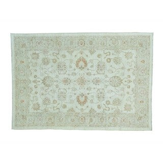 Oushak Ivory Pure Wool White Wash Hand-knotted Oriental Rug (6' x 8'9)