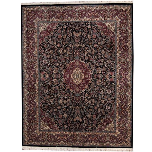 Handmade Herat Oriental Pakistani Kashan Wool Rug - 9'2 x 11'10 (Pakistan)