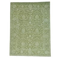 Forest Green Tone On Tone Pure Wool Handmade Oriental Rug - 9' x 12'