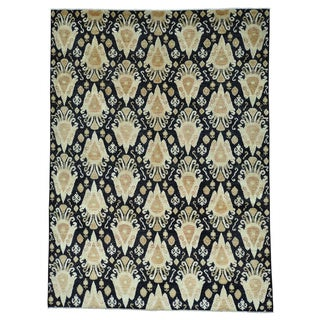 Hand-knotted Black Ikat Pure Wool Oriental Rug (9'2 x 12'4)