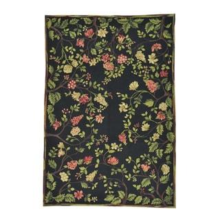 Modern Black Botanical Pure Wool Handmade Oriental Rug (6'1 x 8'10)