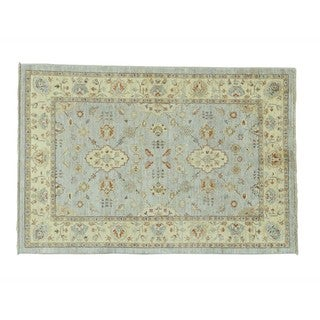 Silver Wash Peshawar Pure Wool Hand-knotted Oriental Rug (4'1 x 6')