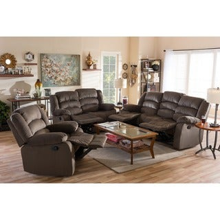 Baxton Studio Panos Modern and Contemporary Taupe Microsuede Sofa Loveseat and Chair Set with 5 Recliners Livingroom Set