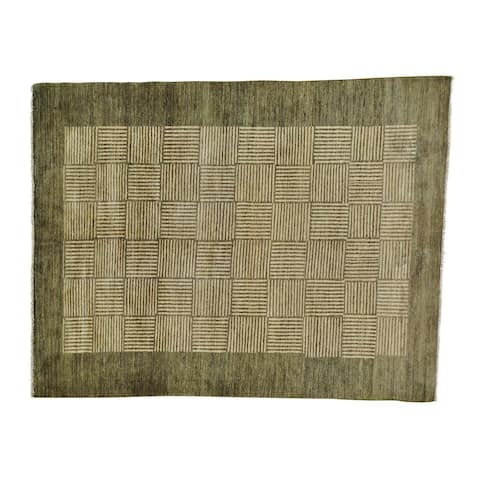 Modern Gabbeh Hand-knotted Pure Wool Oriental Rug (5'8 x 8')