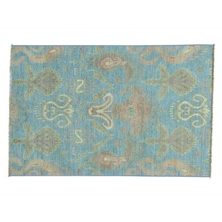 Pure Wool Ikat Uzbek Hand-knotted Oriental Rug (4'1 x 6'5)