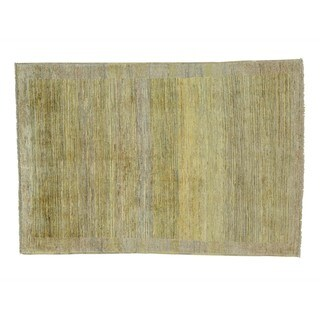 Striped Peshawar Gabbeh Hand-knotted Pure Wool Oriental Rug (4' x 5'9)