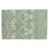 Pure Wool Hand-knotted Ikat Uzbek Oriental Rug (4' x 6'2)