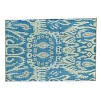 Denim Blue Ikat Uzbek Pure Wool Hand-knotted Rug (4'2 x 6')