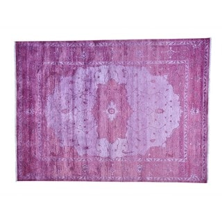 Viscose From Bamboo Tone On Tone Overdyed Handmade Oriental Rug (9' x 12'1)