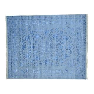 Wool/ Silk Kashan Silver Wash Handmade Rug (8' x 9'10)