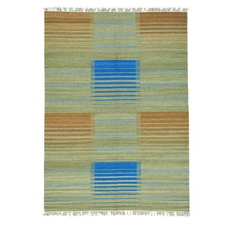 Hand-woven Flat Weave Pure Wool Reversible Kilim Rug (5'7 x 8')
