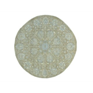 Hand-knotted Washed Out Round Peshawar Pure Wool Rug (8' x 8'1)