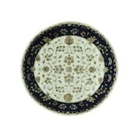 Round Rajasthan Floral Wool and Silk Handmade Rug (8'10 x 9')