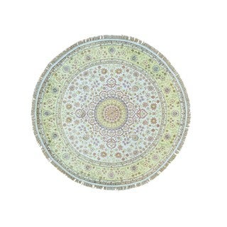 Hand-knotted Round Silken Kashan 250 KPSI with Repair Rug (6'8 x 6'10)