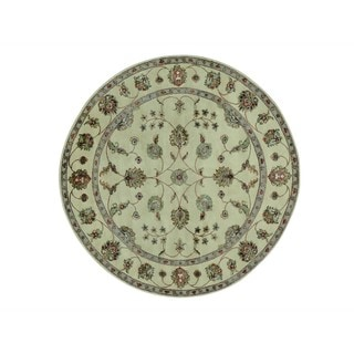 Wool and Silk Beige Hand-knotted Round Rajasthan Rug (6'1 x 6'1)