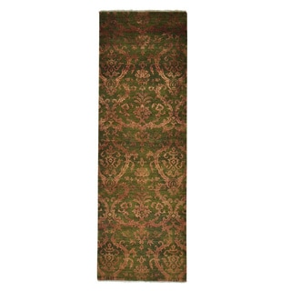Wool and Silk Modern Damask Handmade Runner Rug (2'8 x 8')