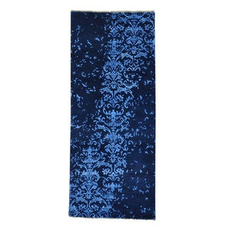 Wool and Silk Modern Damask Handmade Runner Rug (2'9 x 6'8)