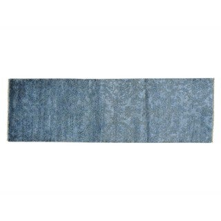 Wool and Silk Modern Damask Handmade Runner Rug (2'6 x 7'8)