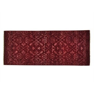 Modern Damask Wool and Silk Handmade Runner Rug (2'7 x 6'4)