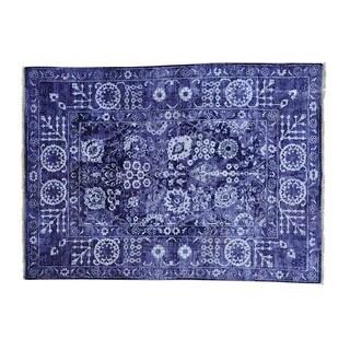 Transitional Tabriz Wool and Viscose From Bamboo Handmade Rug (4'10 x 6'8)