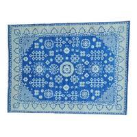 Hand-knotted Denim Blue Khotan Pure Wool Oriental Rug (9'1 x 12')