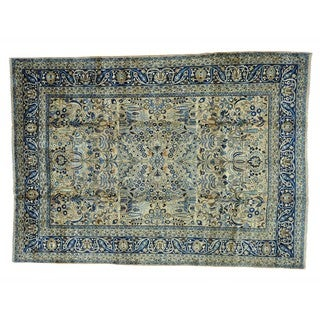 Antique Persian Mashad Hand-knotted Oriental Rug (8'8 x 12'4)