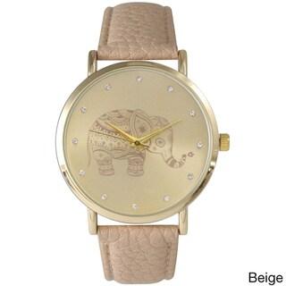 Olivia Pratt Women's Leather Rhinestone Elephant Watch