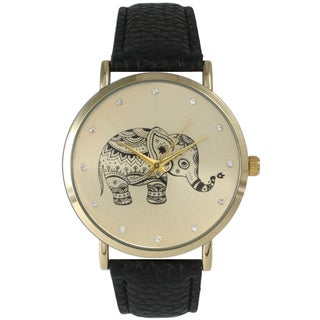 Olivia Pratt Women's Leather Rhinestone Elephant Watch