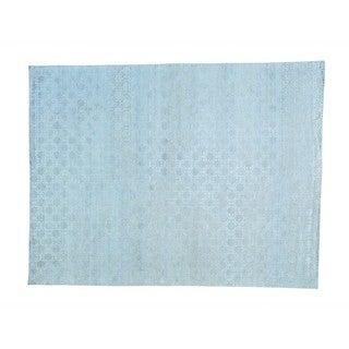 Pure Silk with Oxidized Wool Tone On Tone Handmade Rug (8'10 x 11'7)