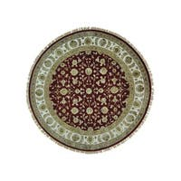 Wool/ Silk Rajasthan Hand-knotted Round Rug (8'1 x 8'1)