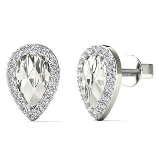 10k White Gold 1/10ct TDW Diamond Pear Stud Earrings (H-I, I1-I2)