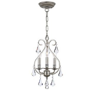 Crystorama Ashton Collection 3-light Olde Silver Mini Chandelier