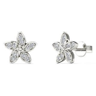10k White Gold Diamond Accent Flower Stud Earrings (H-I, I1-I2)