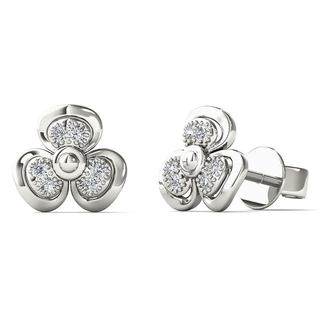 AALILLY 10k White Gold Diamond Accent Fashion Stud Earrings