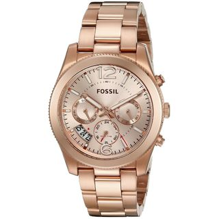 Fossil Women's 'Perfect Boyfriend' Multi-Function Rose-Tone Stainless Steel Watch - GOLD