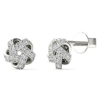 AALILLY 10k White Gold Diamond Accent Knot Stud Earrings (H-I, I1-I2)