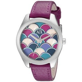 Armani Exchange Women's AX5523 'Sarena' Purple Leather Watch|https://ak1.ostkcdn.com/images/products/11197879/P18187899.jpg?impolicy=medium