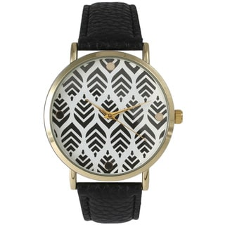 Olivia Pratt Women's Leather Chevron Leaves Watch