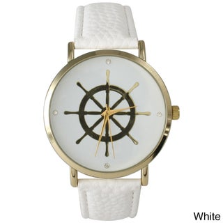 Olivia Pratt Women's Leather Nautical Helm Watch (Option: White)