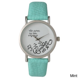 Olivia Pratt Women's Leather Care Free Watch (Option: Green)