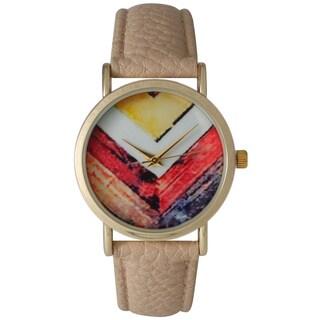 Olivia Pratt Women's Leather Paint Stripe Chevron Watch