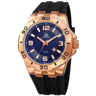 Joshua & Sons Men's Quartz Date Display Rose-Tone Strap Watch