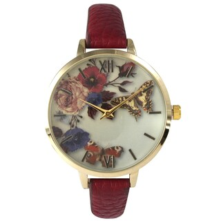 Olivia Pratt Women's Leather Vintage Style Flowers and Butterflies Watch (Option: Red)