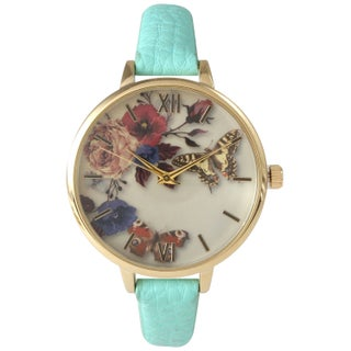 Olivia Pratt Women's Leather Vintage Style Flowers and Butterflies Watch (Option: Mint)