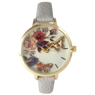 Olivia Pratt Women's Leather Vintage Style Flowers and Butterflies Watch (Option: Grey)