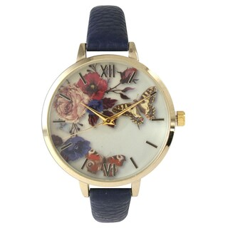 Olivia Pratt Women's Leather Vintage Style Flowers and Butterflies Watch (More options available)