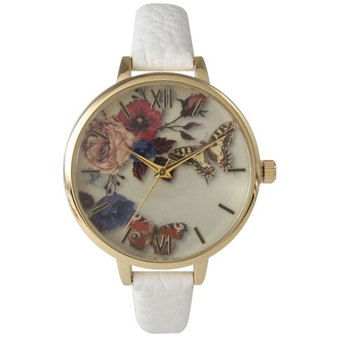 Olivia Pratt Women's Leather Vintage Style Flowers and Butterflies Watch